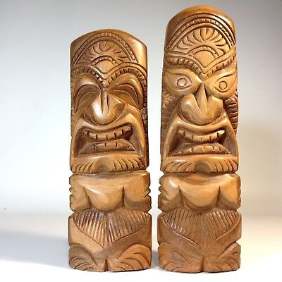 Excellent Pair of Vintage Hand Carved Hawaiian TIKI Gods