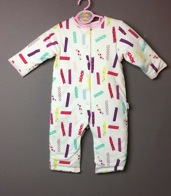 MIDES Long-sleeved Baby Romper Warm 100% Cotton-padded Body Suit 12 month NEW