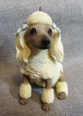 White Beige POODLE with Blue Ribbon Hanging Resin Figurine Ornament