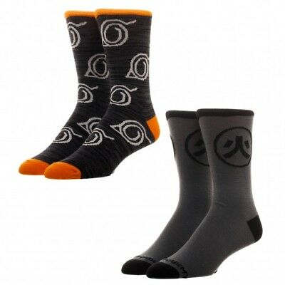 Naruto Shippuden Hidden Leaf Village 2 Pack Crew Socks 2-Pairs Official Bioworld