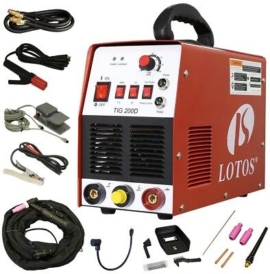 Lotos 200 Amp TIG/Stick DC Square Wave Inverter Welder with foot pedal for and