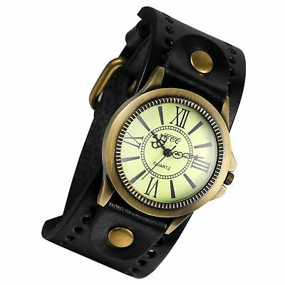 Lancardo Vintage Leather Bracelet Watch With Antique Brass Bronze Tone Bezel(Bla