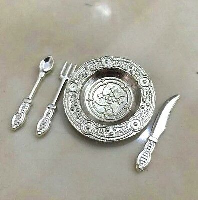 1/12 Dollhouse Miniature 4Pcs Spoon Knife Fork Plate For Kitchen Room Scene A