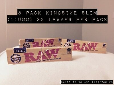 RAW Brand Hemp Joint Rolling paper + free shipping - 110mm - Bundle of 3