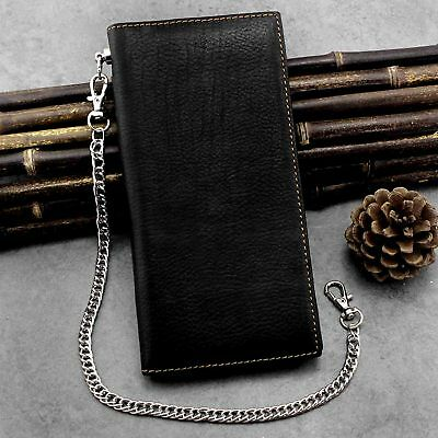 Guarantee Real Leather Long Card / Money Wallet Clutch Purse With Metal chain