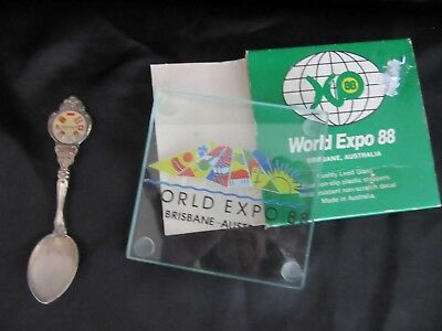 EXPO 88 - SOUVENIRS - Collectors SPOON, & Glass PAPER WEIGHT/ TRIVET in Box