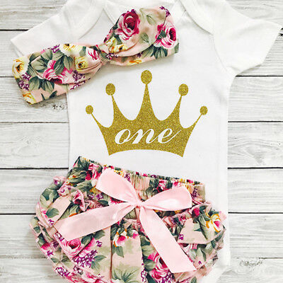 UK Infant Baby Girl First Birthday Romper Bodysuit + Ruffle Shorts Outfits Set