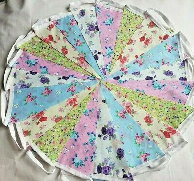 Clearance Fabric Floral Bunting 20ft 6m Vintage Handmade Wedding OFFERS SALE