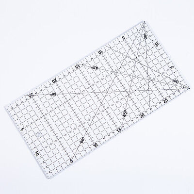 1x Quilting Transparent Square Ruler Quilters Craft Patchwork For Garment Making