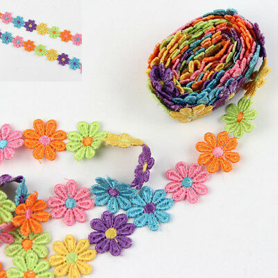 3 Yds Daisy Venice Lace Trim Colorful Fabric Sewing Trimmings Applique DIY Craft