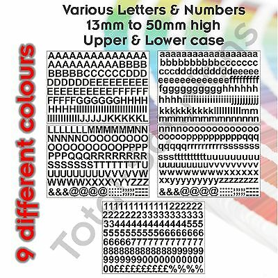 13mm to 50mm Self Adhesive Upper or Lower case Letters or Numbers Various sizes