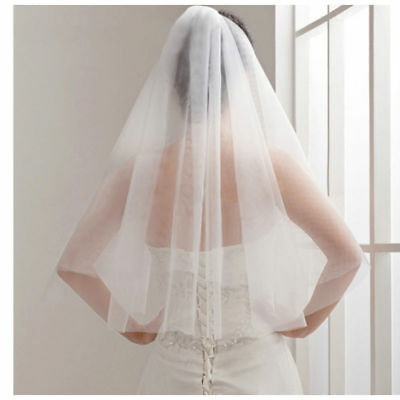 US Holy Tulle Beautiful Milk White Ivory Wedding Veils Bridal Veil With Comb Hot