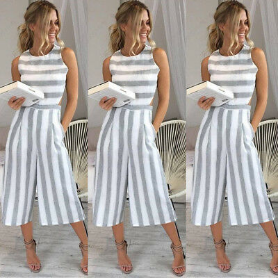 Women Sleeveless Striped Jumpsuit Romper Casual Clubwear Wide Leg Pants Outfits