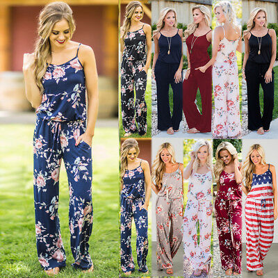 UK Boho Womens Summer Holiday Floral Long Playsuit Beach Dress Trousers Jumpsuit