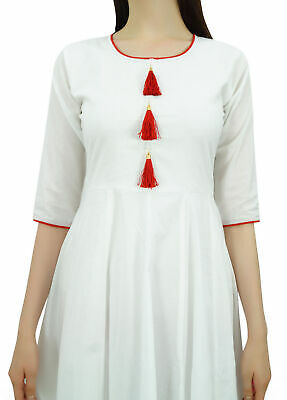 Bimba Womens Designer Ethnic White Kurti Flared Anarkali Kurta Dress Tassele