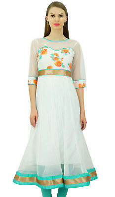 Bimba Women's White Net Anarkali Kurta Kurti Indian Ethnic Designer Wear Dress