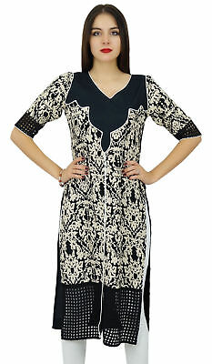 Bimba Womens Long Tunic Black Straight Kurti Designer Printed Kurta Indian