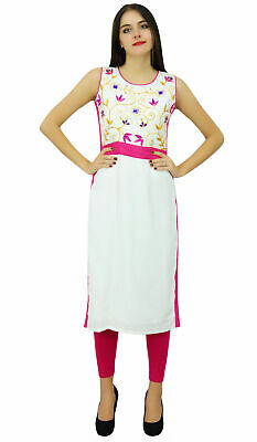 Bimba Women White Casual Straight Kurta Floral Embroidered Designer Kurti Custom