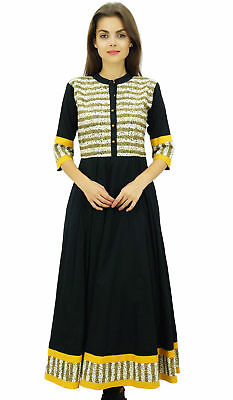 Bimba Womens Long Anarkali Dress with Front Placket Ethnic Kurti Black Tunic