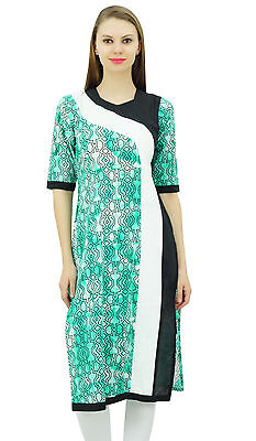 e714e5e816 Bimba Womens Printed Green Cotton Kurta Kurti Long Tunic Indian Casual Wear