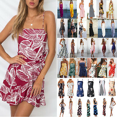 Boho Maxi Womens Floral Strappy Dress Summer Beach Sundress Casual Evening Party