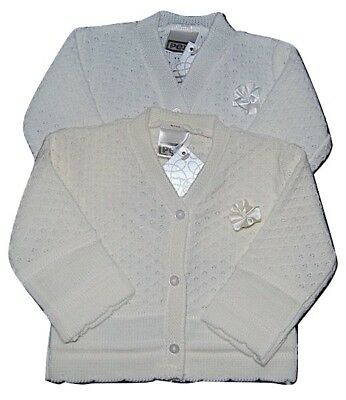 Pex Rosetta Baby Girls V-Neck White or Ivory Cardigan
