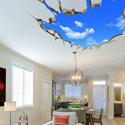 3D Cool Sky Floor Ceiling Rooom Wall Stickers Art Vinyl Modern Room Decor 2018