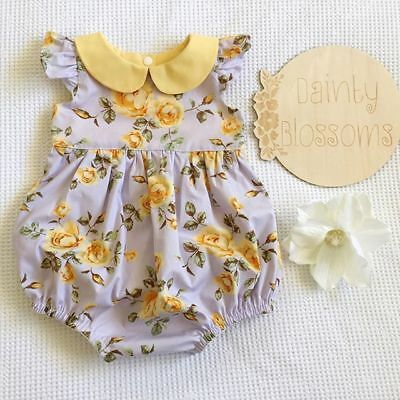 UK Newborn Infant Baby Girl Jumpsuit Bodysuit Floral Romper Outfit Sunsuit 0-24M