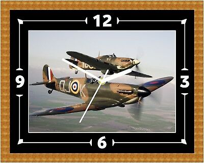 Spitfire RAF Clock Gift Present Christmas Birthday (Can Be Personalised)