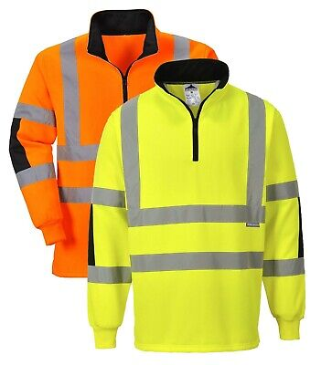 PORTWEST Xenon Rugby Shirt Hi Vis Contrast Reflective 1/4 Zip Safety Work B308