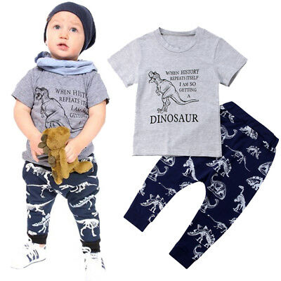 UK NEW Toddler Kids Baby Boys Dinosaur Top T-shirt Pants Leggings Outfit Clothes