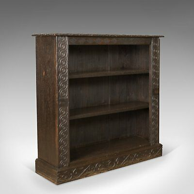 Antique Bookshelf, English Oak, Victorian Bookcase Jacobean Overtones Circa 1880