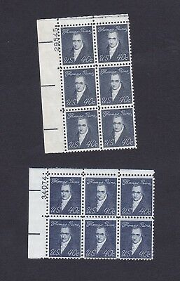 1292 Thomas Paine 40 cent Plate Block of Six MNH, OG