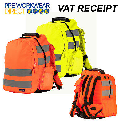 Portwest Hi Vis Rucksack Luggage Padded Back Reflective 25 Litres Bag B905