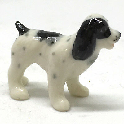 Mini Dollhouse Ceramic Springer Spaniel Dog Figurine Terrarium Garden Home Decor