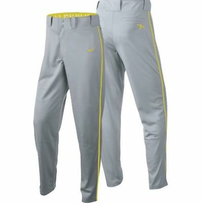 NWT NIKE Boy's Forest Gray & Yellow SWINGMAN Dri-Fit Piped Baseball Pants ~ M