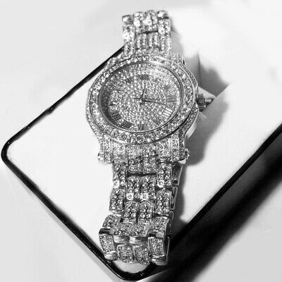 Men Hip Hop Iced out White Tone Techno Pave Bling Simulated Crystal Rapper Watch