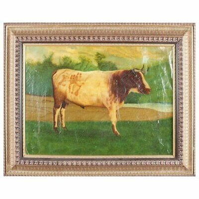 Antique Oil on Canvas Bovine Portrait Painting of Bull in Pasture, 19th Century