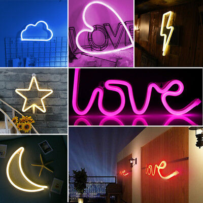 Romantic LED Neon Wall Night Lights Star Moon Heart Letter Sign Wall Mounted UK