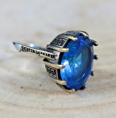 TURKISH HANDMADE STERLING SILVER 925K AND BRONZ SAPPHIRE RING SIZE 9