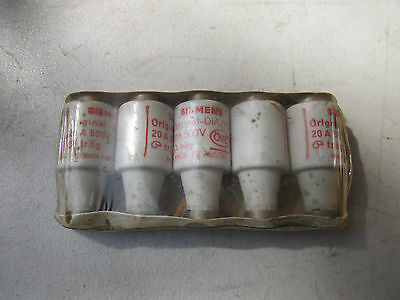 Pack / 5 Siemens 5SB2 730-0Y/LWI Diazed Bottle Fuses 20A 500V NOS