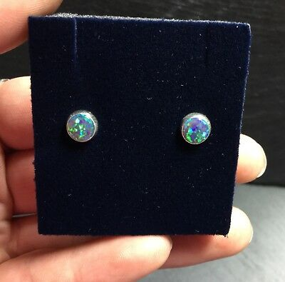Beautiful Created Green Fire Opal 6mm Sterling Silver 925 Earrings Sparkly