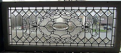 VICTORIAN STAINED and BEVELED GLASS TRANSOM WINDOW