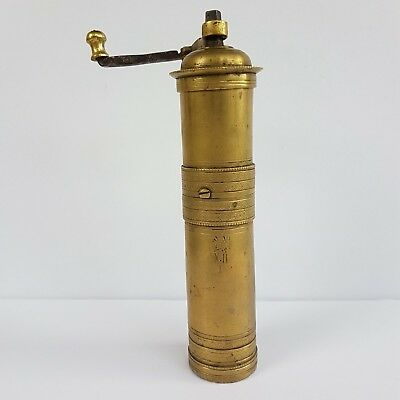 Antique Ottoman Empire Engraved Brass Coffee/Pepper Grinder/Mill Stamped - Tugra