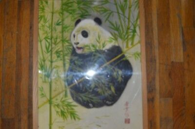 Original Chinese Watercolor Painting of a Panda Signaed and Sealed