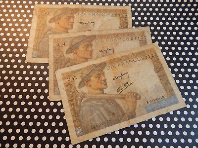 3 Piece Lot - 10 Franc French Currency Notes - Le Mineur
