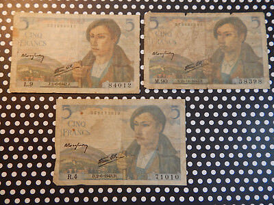 3 Piece Lot - 5 Franc French Currency Notes - Le Berger