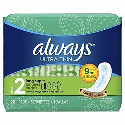 Always Ultra Thin Pads, Long Super, 20 Ct (12 Pack)