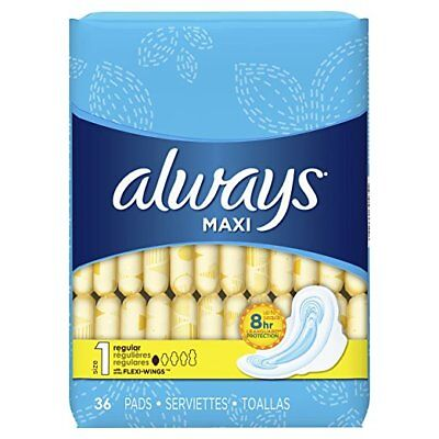 Always Maxi Pads w/ Wings, Regular, 36 Ct (6 Pack)