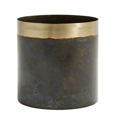 Large Stunningly Elegant Planter Greenish Patina / Brass by Nordal